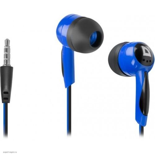 Наушники Defender Basic 604 вкладыши (черный/голубой)