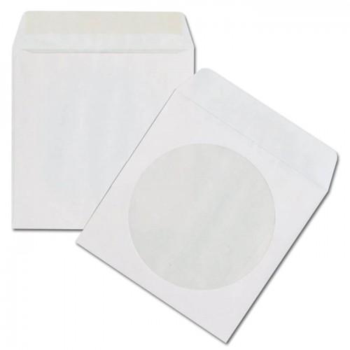 Конверт для CD дисков, белый, (с окном) с клеевым слоем  80г/м2 (25шт/уп)