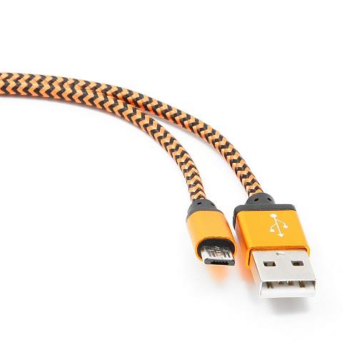 Кабель USB 2.0 Cablexpert AM/microBM 5P, 1м, нейлоновая оплетка, алюминиевые разъемы, оранжевый, пакет (CC-mUSB2oe1m)