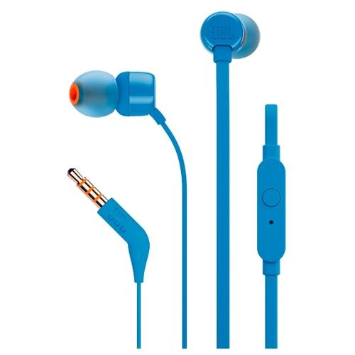 Наушники с микрофоном JBL T110 (вставные затычки), синие
