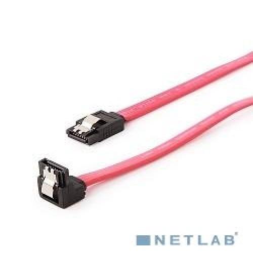 Кабель SATA Cablexpert интерфейсный (50см) угловой разъем, 7pin/7pin, защелка, пакет