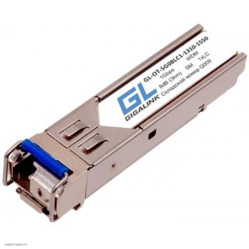 Модуль GIGALINK SFP, WDM, 1Гбит/c, одно волокно SM, LC, Tx:1310/Rx:1550 нм, DDM, 8 дБ (до 3 км) (GL-OT-SG08LC1-1310-1550-D)