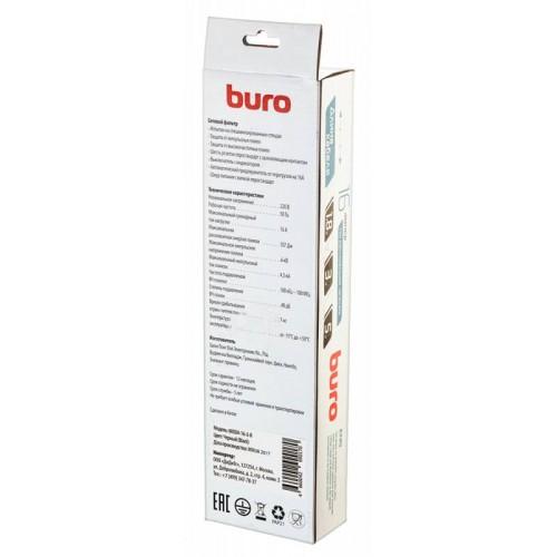 Фильтр сетевой BURO 600SH-16-3-B 3м (6 розеток) черный