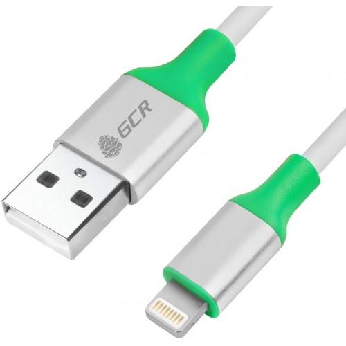 Кабель USB - AM/Lightning 8 pin 0.5m Greenconnect алюминиевый корпус серебро, зеленый ПВХ, белый (GCR-50504)