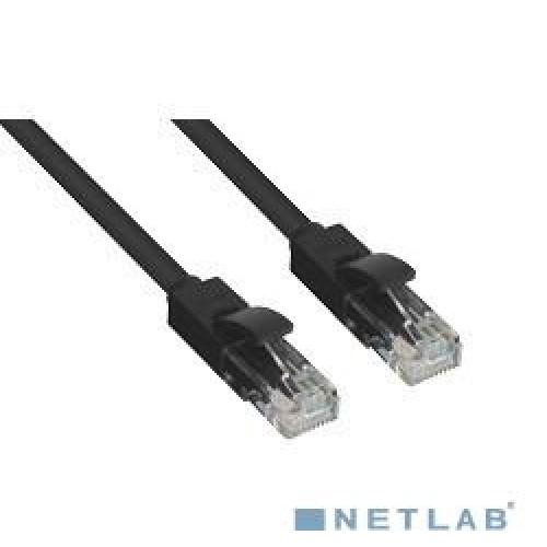 Патч-корд UTP Cat.5e, 2.0м, Greenconnect литой, позолоченные контакты, 24AWG, черный (GCR-LNC06-2.0m)