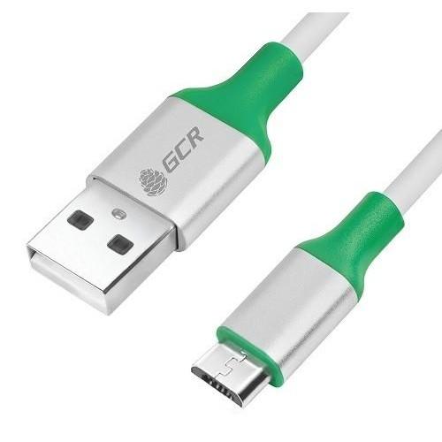 Кабель USB 2.0 Am-microB 5P 0.5м GreenConnect белый, алюминиевый корпус серебро, зеленый (GCR-50509)