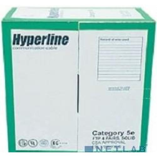 Кабель U/UTP Hyperline 4 пары, Кат.5e, неэкранированный, PVC, 24 AWG, одножильный (solid), 305м (NUUTP4-C5E-S24-IN-PVC-BL-305)
