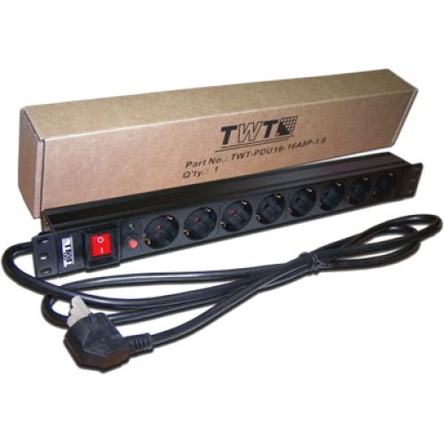 """Блок розеток TWT TWT-PDU19-16A8P-1.8 black (19""""/8xSchuko/16A/250V/1.8м)"""