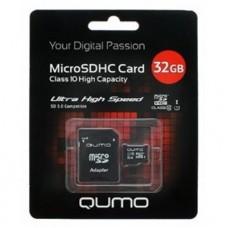 Карта флэш-памяти MicroSD 32 Гб Qumo +SD адаптер (class 10) UHS-1