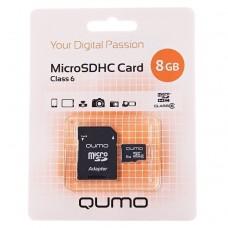 Карта флэш-памяти MicroSD  8 Гб Qumo +SD адаптер (class 6)