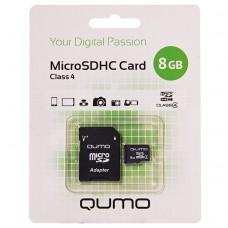 Карта флэш-памяти MicroSD  8 Гб Qumo +SD адаптер (class 4)
