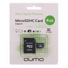 Карта флэш-памяти MicroSD  4 Гб Qumo +SD адаптер (class 4)