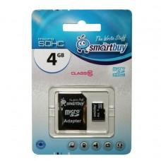 Карта флэш-памяти MicroSD  4 Гб Smart Buy +SD адаптер (class 10)