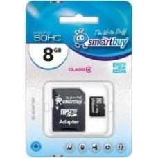 Карта флэш-памяти MicroSD  8 Гб Smart Buy +SD адаптер (class 4)