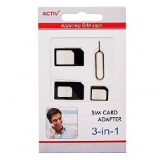 Адаптер для SIM-карты Activ 3 в 1 (nano/micro/mini) (black)