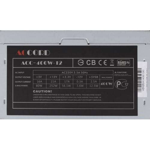 Блок питания  400W ATX Accord ACC-400W-12 4*SATA I/O switch