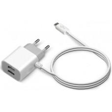 Зарядное устройство Jet.A UC-C14 White (2USB/2.1A/USB Type C cable) (UC-C14)