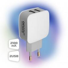 Зарядное устройство Ginzzu GA-3008W White (2USB/2.1A) (GA-3008W)
