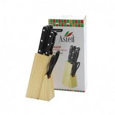 Ножи 7пр. AST-004-HH-001 дерев.ручки + подставка + ножницы