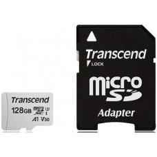 Флеш Карта Памяти (MicroSDXC) 128Gb Transcend 300S UHS-I Class3+SD адаптер R95/W45 TS128GUSD300S-A
