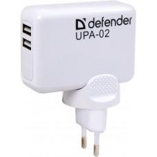 Зарядное устройство Defender UPA-02, 2xUSB, 2.1 А (суммарно на все порты)