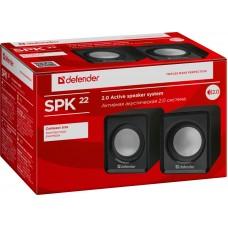 Акустическая система 2.0 Defender SPK-22, 2x2.5W, USB, черный