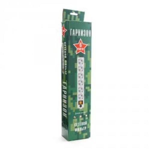Фильтр сетевой Гарнизон ЕНW-6-USB white