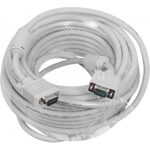 Кабель VGA DB15M/15M 20м, ферритовый фильтр, серый (675581)