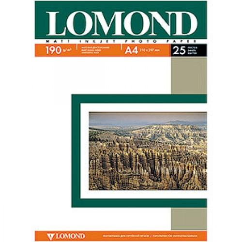 Бумага Lomond для струйной печати А4, 190 г/м2, 25 листов, матовая двусторонняя (0102036)