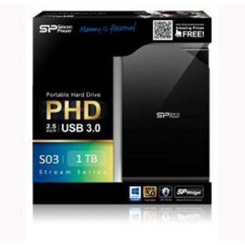 "Внешний накопитель HDD 1000 Gb USB 3.0 Silicon Power Stream 2.5"" черный (SP010TbPHDS03S3K)"