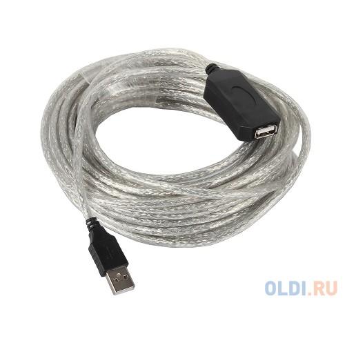 Кабель USB 2.0 Am-Af-repeater VCOM, удлинитель активный 10м, белый (VUS7049)