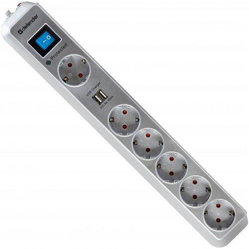 Фильтр сетевой Defender DFS-501, 6-розеток, 2m, серый (99051) + 2xUSB