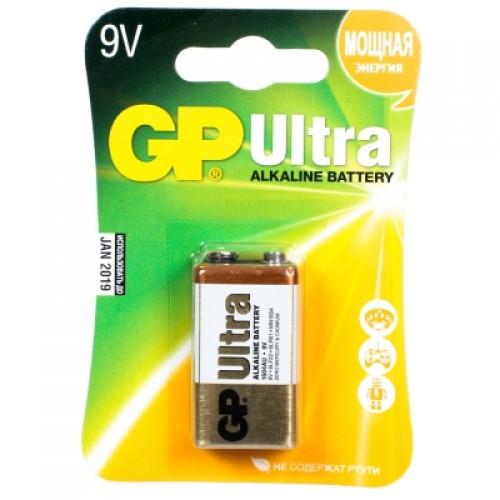 Батарейки щелочные GP Ultra Alkaline 1604AU 6LR61 1шт (9V)