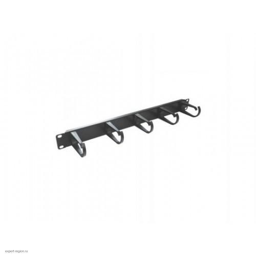 """Органайзер 19"""" кабельный, 1U, 5 колец, черный, металич. (E44ORG1UB)"""