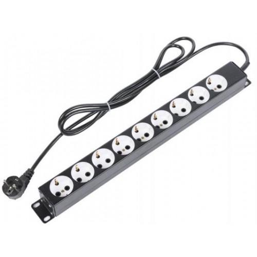 """Блок розеток ЦМО 19"""" без выключателя, 9 шт.розеток, кабель питания 2м (БР-9П-Ш-9005)"""