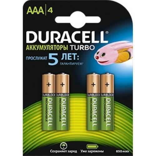 Аккумулятор Duracell  AAA (850 mAh) NiMH HR03-4BL предзаряженные, 4шт