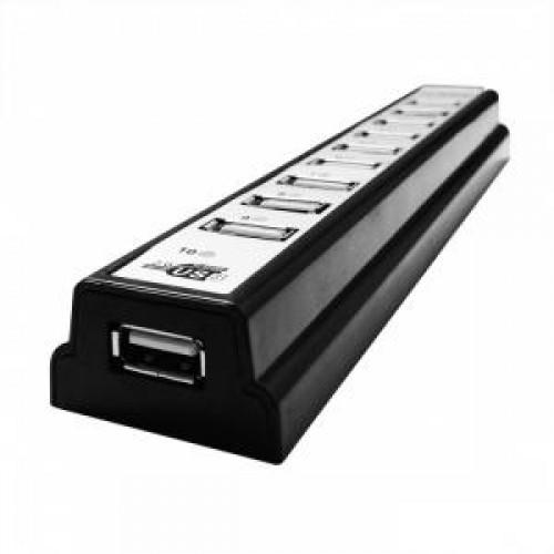 Концентратор USB 2.0 HUB CBR CH-310, 10 ports USB 2.0, черный