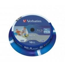 Диск Verbatim Blu-Ray, 25Gb, 6x, Cake Box, 10 шт, Printable