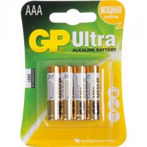 Батарейки щелочные GP Ultra Alkaline 24AU LR03 4шт (AAA)