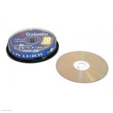 Диск DVD+RW Verbatim  4,7Gb 4x,  10шт., Cake Box (43488)