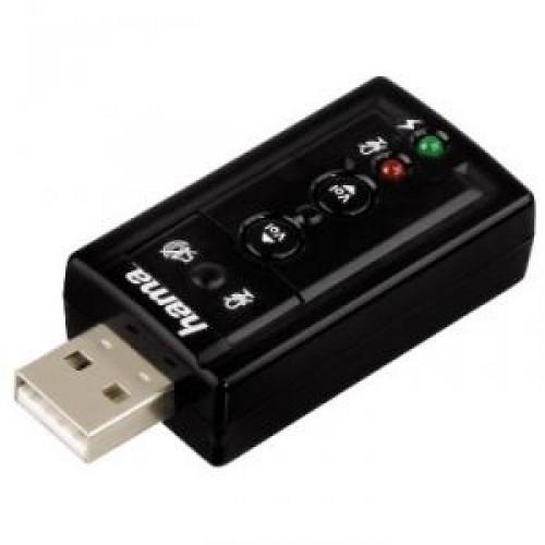 Звуковая карта Hama Surround black, USB, 2 х 3.5 мм Jack (f) 7.1,10 полос. эквалайзер (H-51620)