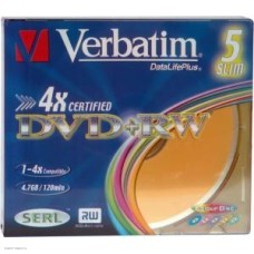 Диск DVD+RW Verbatim  4,7Gb 4x,   5шт., Slim Case (43297)