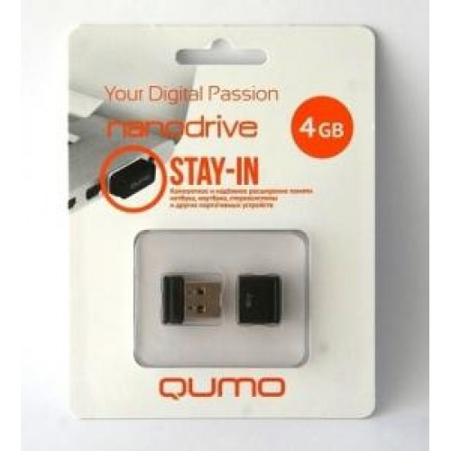 Накопитель USB 2.0 Flash Drive 4Gb Qumo Nano Black