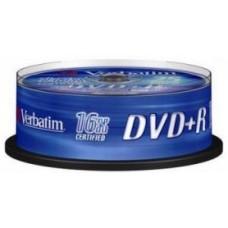 Диск DVD+R Verbatim 4,7GB 16x, 25шт., Cake Box (43500)