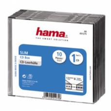 Коробка для 1 CD Slim, 10 шт., прозрачный/черный, Hama H-51275 (51275)