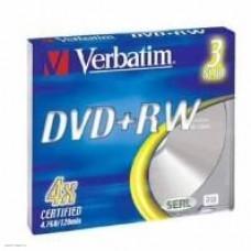 Диск DVD+RW Verbatim  4,7Gb 4x,   3шт., Slim Case (43636)