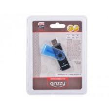 Картридер AII in 1; USB 2.0 Ginzzu GR-412B, Black-Blue