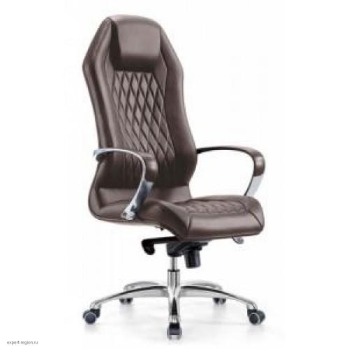 Кресло руководителя Бюрократ Aura/Brown коричневый кожа (алюминий)