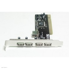 Контроллер PCI на 4USB 2.0 (4 внеш.+1внутр.) (VIA chip) VIA6212 bulk