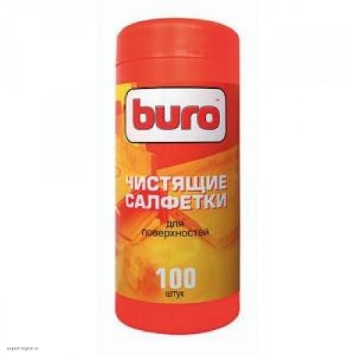 Салфетки чистящие влажные BURO BU-Tsurface для поверхностей (100 шт в тубе)